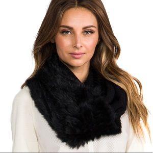 DVF Delila Rabbit Fur Trim Infinity Scarf
